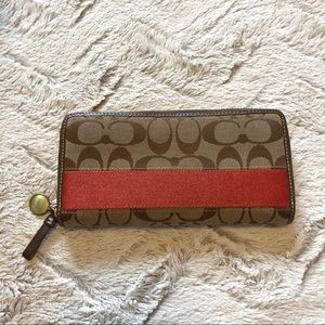 Coach Signature Stripe Zip Wallet